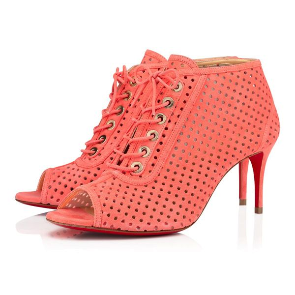 Christian Louboutin Ankle Boots Open Ondessa Suede 70 mm Pink Heels