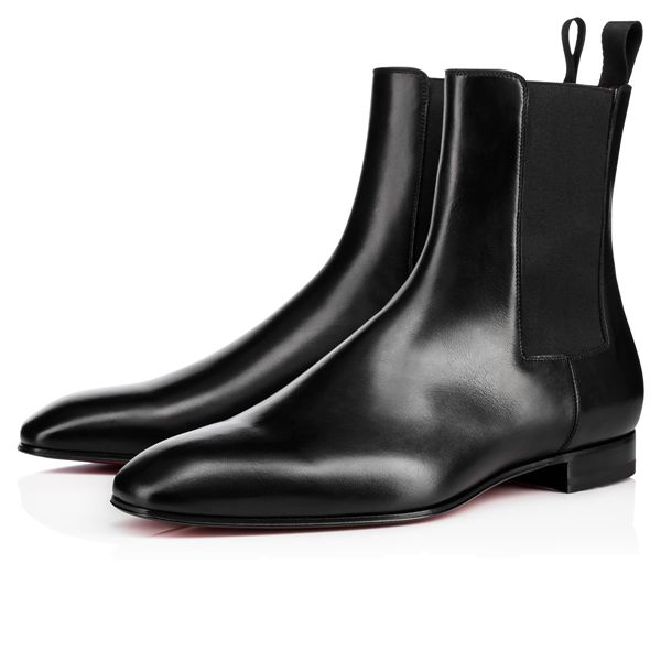 Christian Louboutin Ankle Boots Roadie Flat Leather Black Men's Shoes