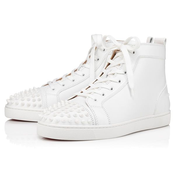 Christian Louboutin High Tops Lou Spikes Flat Leather White/White Men's Shoes