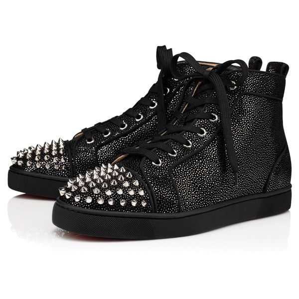 Christian Louboutin High Tops Louis Spikes Suede Blu Scuro Men's Shoes