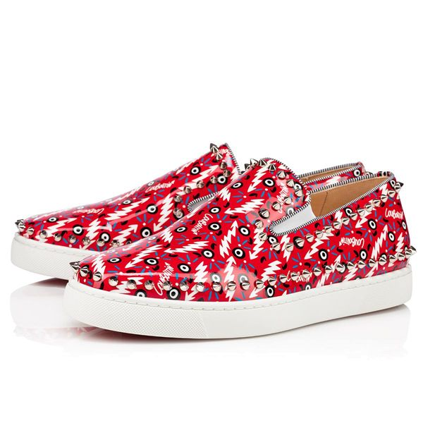 Christian Louboutin Low Tops Pik Boat Creative Leather Red/silver Men's Shoes