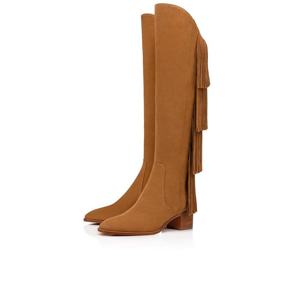 Christian Louboutin Tall Boots Boot Lionne Suede 55mm Brown Heels